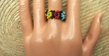 Mexican Huichol Art Beaded Ring Jewelry Hand Made