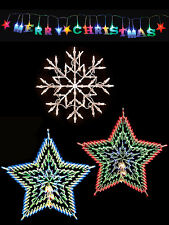 christmas light shapes window snowflake star merry christmas indoor colour white
