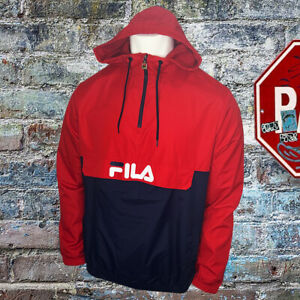 NWT FILA AUTHENTIC MEN'S RED NAVY LONG SLEEVE PULL ON HOODIE SWEATSHIRT SIZE XL