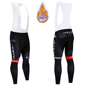 Mens Therma Fleece Cycling Bib Pants Bike Riding Pad Trousers Bib Bicycle Tights