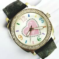 Dooney & Bourke Womens Multi Color Pave Crystal Bezel Quartz Leather Band Watch
