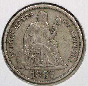 1887 Seated Liberty Dime XF+ 87P03