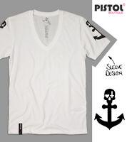 Pistol Boutique men's Fitted White Deep V neck Sleeve print SKULL ANCHOR T-shirt