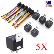 5X 12V Volt DC 40A AMP Relay & Socket SPST 5Pin 5Wire For Car Truck AU Local