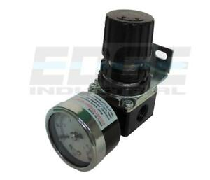 "AIR IN LINE COMPRESSOR PRESSURE REGULATOR MINI SERIES, 1/4"" NPT, GAUGE INCLUDED"