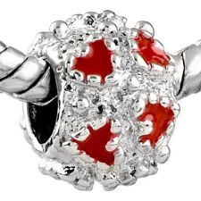 Pugster European charm bead-  red hearts on silver spacer