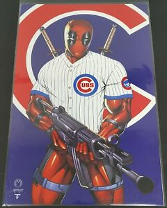 """Deadpool Chicago Cubs Baseball Player 11"""" x 17"""" Wall Poster Art by Norm Rapmund"""