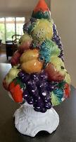 Lefton Fruit Topiary Majolica Italian Italy Centerpiece Tree Vintage Apple Grape