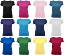 Womens Short Sleeve Scoop Neck Plain T Shirt Top Casual Tee 8-14