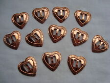 """1 Dz Copper HEART Conchos 1"""" x 1""""  Lightweight For Crafts Brand NEW in Bag"""