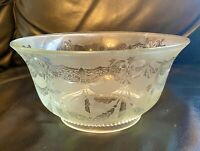 1880s Antique Scalloped Crystal Handblown Etched Frosted Glass Lamp Shade 4""