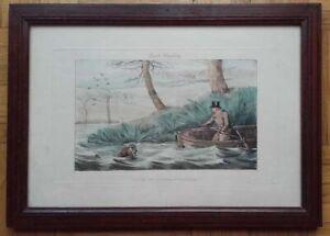 Alken, Gravure anglaise aquatinte, 1826, chasse aux canards, encadrée