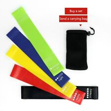 RESISTANCE LOOP BANDS EXERCISE SPORTS FITNESS HOME GYM YOGA SET 5 PIECE + BAG