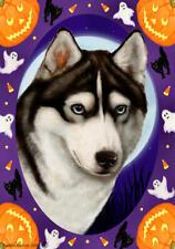Siberian Husky Black & White Blue Eyes Halloween Howls Flag
