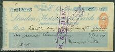 Great Britain London Westminster Bank Check 7/1/1856 One Penny Imprinted Revenue