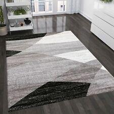 Teppich Geometrisches Muster Meliert in Grau Weiß Schwarz