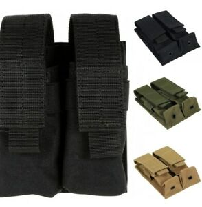 Double Pistol Mag Pouch Holder Molle For 9mm & .45 & .40 Dual Magazine Tactical