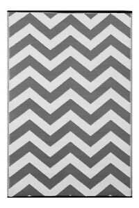 Lightweight Outdoor Reversible Plastic Rug Psychedelia Grey /  White