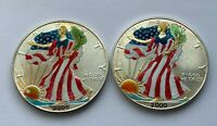 2000 LOT OF TWO AMERICAN SILVER EAGLE DOLLAR 1 OZ COLORIZED COINS