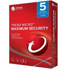 Trend Micro Maximum Security 2020/2019 V16/15 -1Year 5Devices(PC/MAC/MOBILE)-ALL