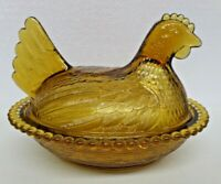 Vintage Indiana Glass Amber Glass Hen on Nest Covered Dish Beaded Edge
