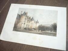 GRANDE LITHOGRAPHIE  DE H. CLERGET 1890 CHATEAU RENAISSANCE