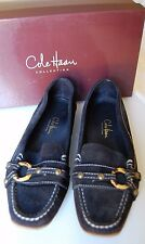 COLE HAAN COLLECTION Black Suede Ring Moccasins Loafers Shoes Flats 7 B Classic