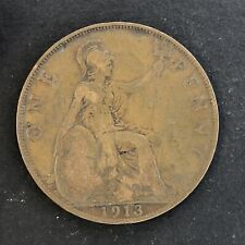 UK Great Britain One Penny 1913 Foreign Coin.