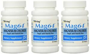 NEW MAG 64 MAGNESIUM CHLORIDE WITH CALCIUM 60 TABLETS (3 Bottles = 180 Tablets)