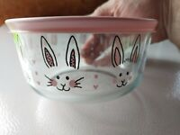 Pyrex Easter 4 -Cup Storage Bowl & Cover Pink Bunny Ears Rabbit New