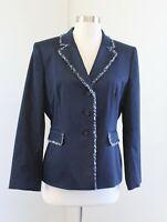 Tahari ASL Levine Womens Navy Denim Tone Blue Fringe Trim Blazer Jacket Size 12P