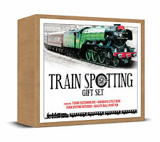 TRAIN SPOTTING SET FLYING SCOTSMAN DVD BOOK NOTEBOOK & PEN - SPOTTERS IDEAL GIFT