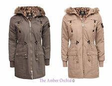 Brave Soul Ladies Semi Oversized Leopard Hood Fishtail Parka Jacket Womens Coat