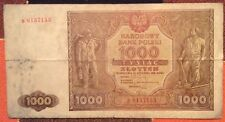 1946 poland 1000 tysiac zlotych currency narodowy bank polski paper money