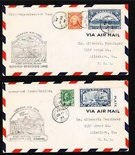 Canada 1st Flight 1934 Winnipeg - Beresford Lake & BACK Air Mail TWO COVERS 3v