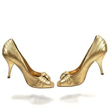 BCBGirls Women's Slip-on Peep Toe Pumps Heels Size 7.5 M Gold Leather BRAZIL S2