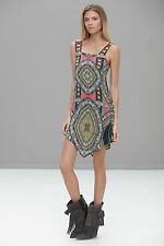 "ALEXIS ""RUSSO"" SILK DRESS in AFRICAN TRIBAL PRINT M FUNKY"