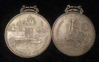 Rare Vintage Set of Silver Pewter Sign Grafenwoehr