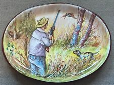Vietri Pottery-19x14inch Plate With Hunting Scenes.Made/Painted by hand in Italy