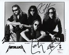METALLICA X4 JAMES HETFIELD LARS KIRK & JASON SIGNED 1991 PROMO 8X10 PHOTO JSA