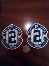 (2) NEW YORK YANKEES DEREK JETER Captain  Embroidered Iron On Patches patch 3.5""