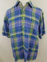 Alan Flusser Linen Bitton Front Blue Green Purple Short Sleeve Shirt Large (2377