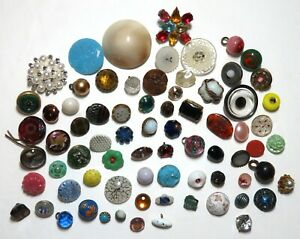 Lot of 74 ~ Vintage & Antique Sewing Buttons ~ All Colors of Old Glass
