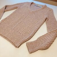 Vintage Liz Claiborne Cable Knit Hipster Sweater Women's Size Small Pale Pink
