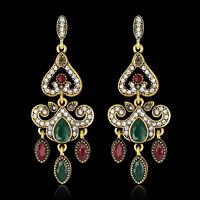 EG_ Ladies Cocktail Vintage Resin Rhinestone Long Dangle Chandelier Earrings Hea
