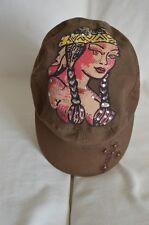Ed Hardy Indian Womens BLING Military Cap Elastic Adjustable Khaki Cross Hat