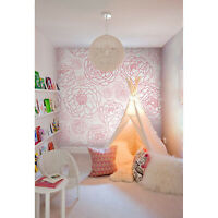 Pink line flowers  pink and white wall mural  wallpaper