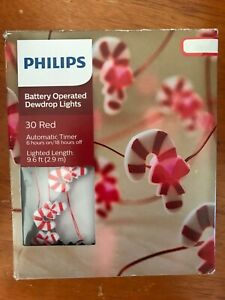 Philips Battery Operated Dewdrop Lights 30 Red Candy Cane Shaped 9.6 Ft (2.9 M)