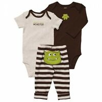 CARTER'S BOYS INFANT 3PC BROWN/BEIGE STRIPE BODYSUITS PANTS MONSTER 24M NWT