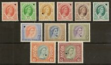 RHODESIA & NYASALAND 1954-56  PERF PLATE PROOFS (11) VALS TO £1  EX WATERLOW